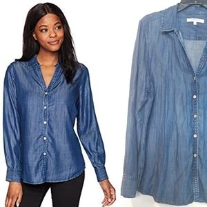 16 Foxcroft Chambray Denim Look Tencel Shirt